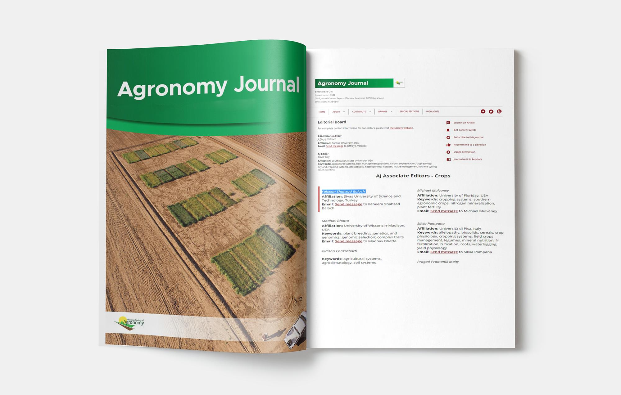 Öğretim Üyemiz Gronomy Journal Dergisi Yayın Kurulunda